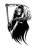 Monstruo de la muerte negra con la guadaña Imagen de archivo