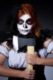 Monstruo de la mujer con el hacha Fotos de archivo libres de regalías