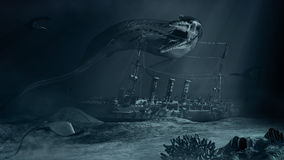 Monstruo de mar y nave hundida Fotografía de archivo