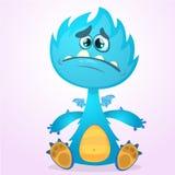 Monstruo del dragón de la historieta del vector con las alas minúsculas Carácter azul del dragón que agita sus manos Ejemplo azul Imagen de archivo