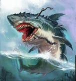 monstruo del tiburón stock de ilustración