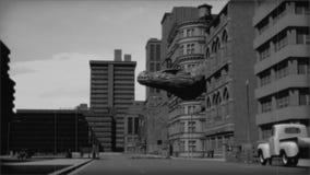 Monstruo del vintage: dinosaurio gigante en la ciudad blanco y negro ilustración del vector