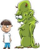 Monstruo detrás del muchacho Imágenes de archivo libres de regalías
