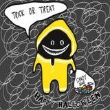 Monstruo en capa de lluvia amarilla con el ejemplo del bolso del caramelo Foto de archivo libre de regalías