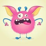 Monstruo enojado de la historieta Vector el carácter rosado peludo del monstruo en las piernas minúsculas y los oídos grandes Dis stock de ilustración