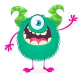 Monstruo feliz de la historieta El vector Halloween uno observó al monstruo peludo stock de ilustración