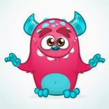 Monstruo feliz de la historieta Monstruo peludo rosado de Halloween Colección grande de monstruos lindos Carácter de Halloween ilustración del vector