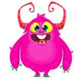 Monstruo feliz de la historieta Monstruo peludo rosado de Halloween Colección grande de monstruos lindos Carácter de Halloween stock de ilustración