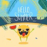 Monstruo feliz lindo en verano ilustración del vector
