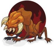 Monstruo infernal del mutante con los mandíbulas y los colmillos grandes, ejemplo del vector stock de ilustración