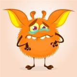 Monstruo lindo de la historieta Vector el carácter anaranjado peludo del monstruo en las piernas minúsculas y los oídos grandes D ilustración del vector
