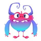 Monstruo lindo de la historieta Vector el carácter azul peludo del monstruo con las piernas minúsculas y los cuernos grandes Dise libre illustration