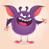 Monstruo lindo de la historieta Vector el carácter violeta peludo del monstruo con las piernas minúsculas y los oídos grandes Dis libre illustration