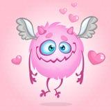 Monstruo lindo en amor Ilustración para el día de tarjeta del día de San Valentín del St Vector Imágenes de archivo libres de regalías