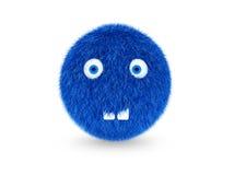 monstruo melenudo azul 3D divertido, con los dientes en un fondo blanco Imagen de archivo