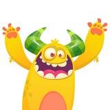 Monstruo peludo amarillo de la historieta Ejemplo del vector de Halloween del monstruo emocionado libre illustration