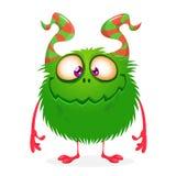 Monstruo peludo del verde de Halloween del vector stock de ilustración
