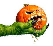 Monstruo que sostiene la calabaza espeluznante stock de ilustración