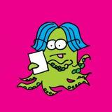 Monstruo que usa una tableta del ordenador Fotos de archivo