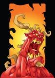 Monstruo rojo con el fondo de los cuernos Imagen de archivo libre de regalías