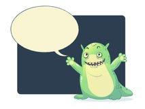 Monstruo verde del limo con la burbuja de la palabra Imagen de archivo
