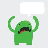 Monstruo verde enojado con la burbuja del discurso Fotos de archivo