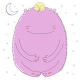 Monstruo y gato durmientes stock de ilustración