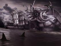 Monstruo y nave vieja Imagen de archivo libre de regalías