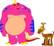Monstruo y perro stock de ilustración