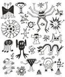 Monstruos blancos y negros lindos divertidos ilustración del vector