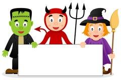 Monstruos de Halloween con la bandera en blanco [2] Imagen de archivo