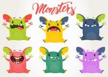 Monstruos de la historieta Sistema del vector de monstruos de la historieta con diversas expresiones de la cara libre illustration