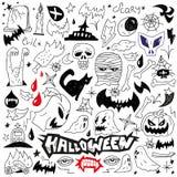 Monstruos de Halloween - doodles ilustración del vector