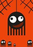Monstruos lindos, arañas en el web, tarjeta de Halloween, vector Fotografía de archivo libre de regalías