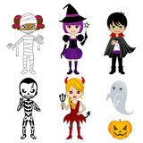 Monstruos lindos de Halloween, aislados Foto de archivo