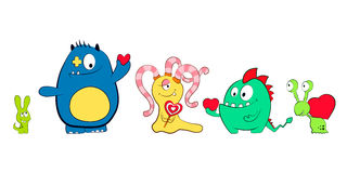 Monstruos lindos de la historieta con los corazones Monstruo cómodo Para el día de tarjeta del día de San Valentín, cumpleaños Fo Imagen de archivo libre de regalías
