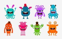 Monstruos lindos de la historieta Sistema del extranjero o del fantasma de iconos Ilustración del vector Imagen de archivo