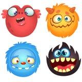 Monstruos lindos de la historieta Sistema del vector de 4 iconos del monstruo de Halloween Imagen de archivo