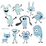 Monstruos lindos del Watercolour fijados libre illustration