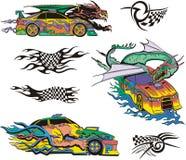 Monstruos y coches de competición Fotos de archivo libres de regalías