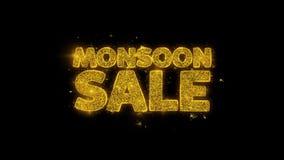 Monsun sprzedaży typografia pisać z złotymi cząsteczkami iskrzy fajerwerki