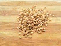Montão da grão do trigo no fundo de madeira imagens de stock royalty free