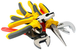 Montão das ferramentas de aço isoladas no branco Imagens de Stock
