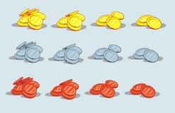 Montão das moedas isoladas no branco Imagens de Stock