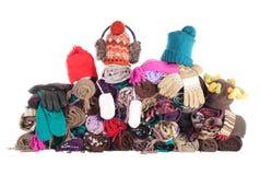 Montão de acessórios do inverno | Isolado Fotos de Stock Royalty Free