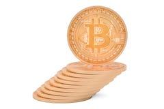 Montão de Bitcoins de cobre, rendição 3D Fotografia de Stock Royalty Free