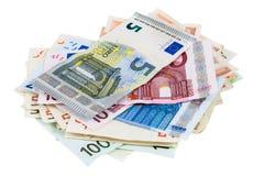Montão de cédulas do Euro fotografia de stock