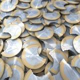 Montão de moedas fora mordidas do Euro ilustração do vetor