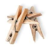 Montão de pregadores de roupa de madeira velhos Fotos de Stock Royalty Free