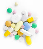 Montão de tabuletas, de comprimidos e de cápsulas diferentes Foto de Stock